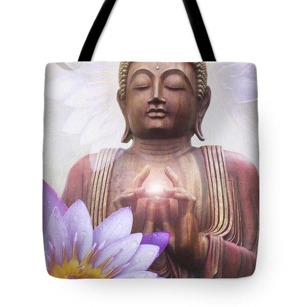 Om Mani Padme Hum - Buddha Lotus Tote Bag