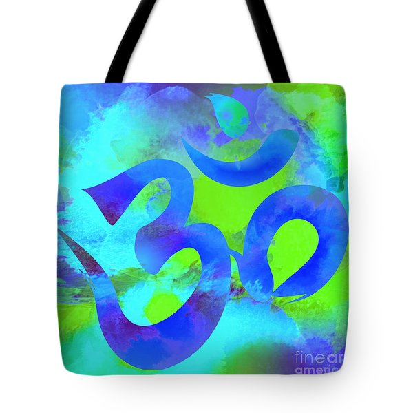 Om Symbol, Green And Blue Tote Bag
