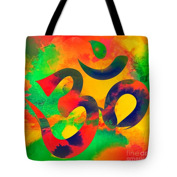 Om Symbol, Green, Yellow And Orange Multicolor Tote Bag