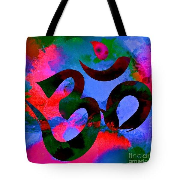 Om Symbol, Hot Pink And Blue Tote Bag