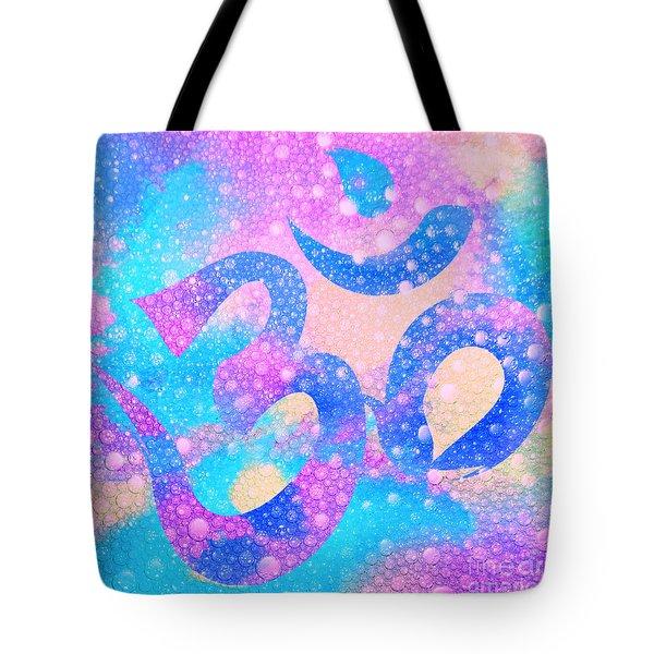 Om Symbol, Light Pink And Blue Pastels, 3d Water Mist Tote Bag