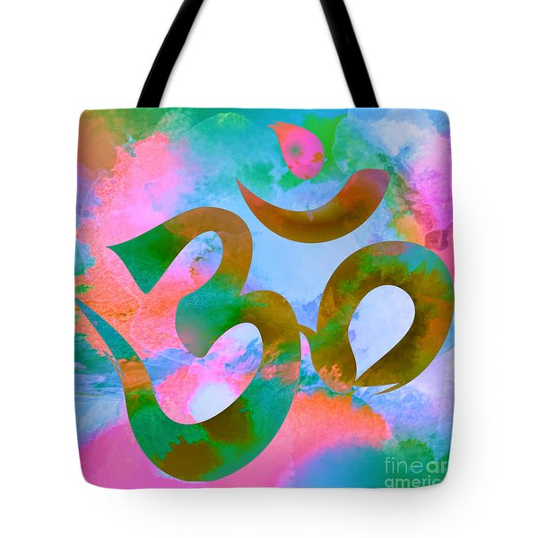 Om Symbol, Pastel Pink,blue And Green Tote Bag
