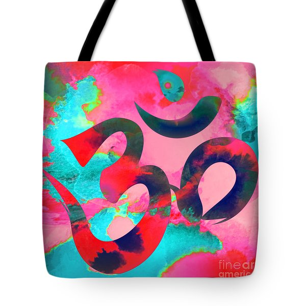 Om Symbol, Pink And Blue Tote Bag