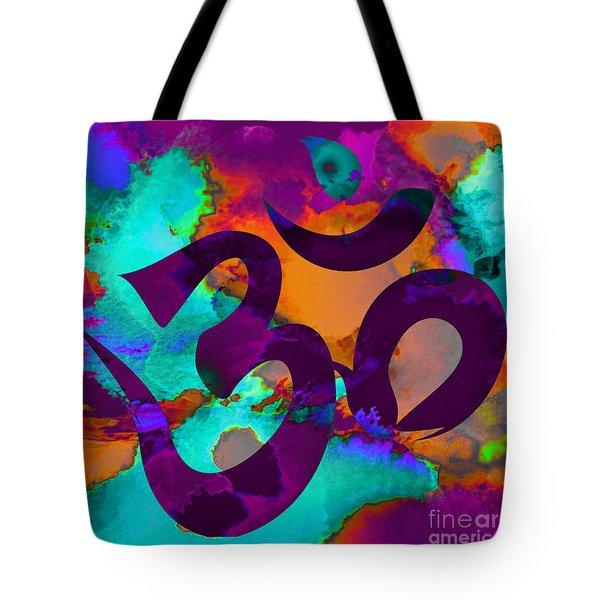 Om Symbol, Purple, Orange And Light Blue Tote Bag