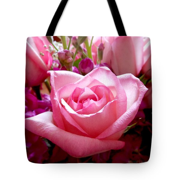 Ombre Pink Rose Bouquet Tote Bag