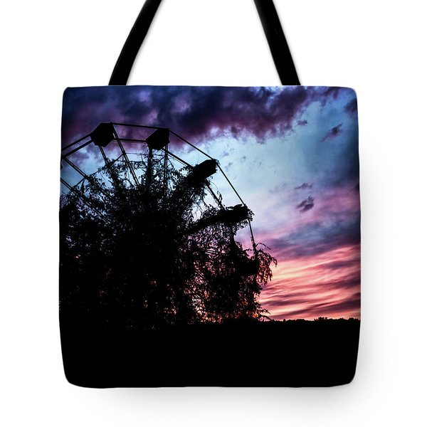 Ominous Abandoned Ferris Wheel Tote Bag