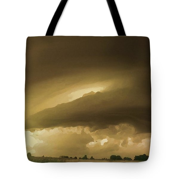 Tote Bag featuring the digital art Ominous Oklahoma Sky by Shelli Fitzpatrick