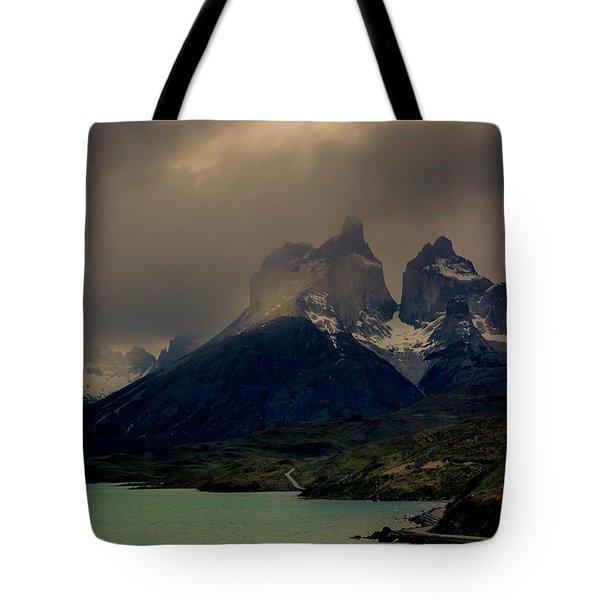 Ominous Peaks Tote Bag by Andrew Matwijec