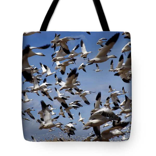 On A Mission Bosque Del Apache Tote Bag by Kurt Van Wagner