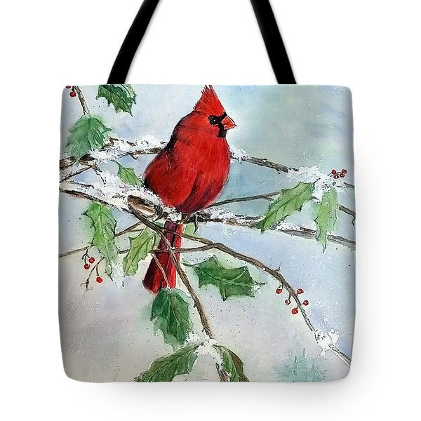 On A Snowy Perch Tote Bag