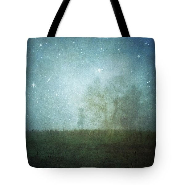 On A Starry Night, A Boy And His Tree Tote Bag