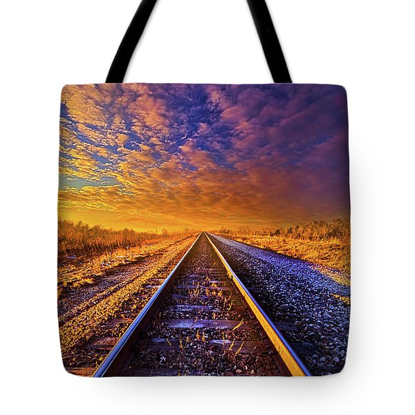 Tote Bag featuring the photograph On A Train Bound For Nowhere by Phil Koch