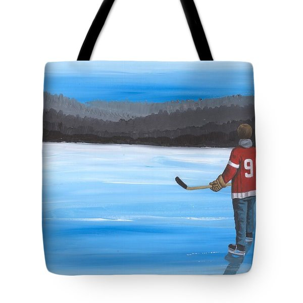 On Frozen Pond - Gordie Tote Bag by Ron Genest