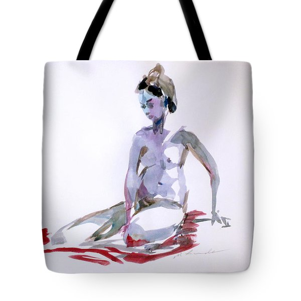 On Her Red Robe Tote Bag by Mark Lunde