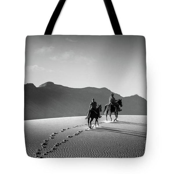 On Horseback At White Sands Tote Bag