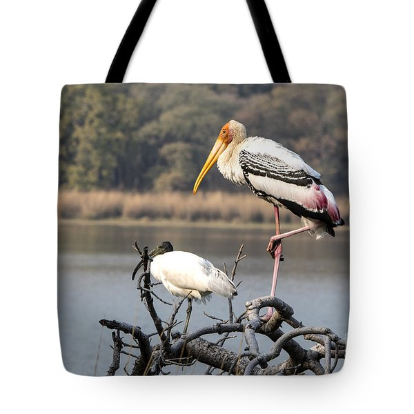 On One Leg Tote Bag