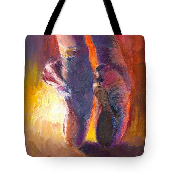 On Pointe At Sunrise Tote Bag by Ann Radley