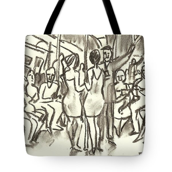 On The A, New York City Subway Drawing Tote Bag