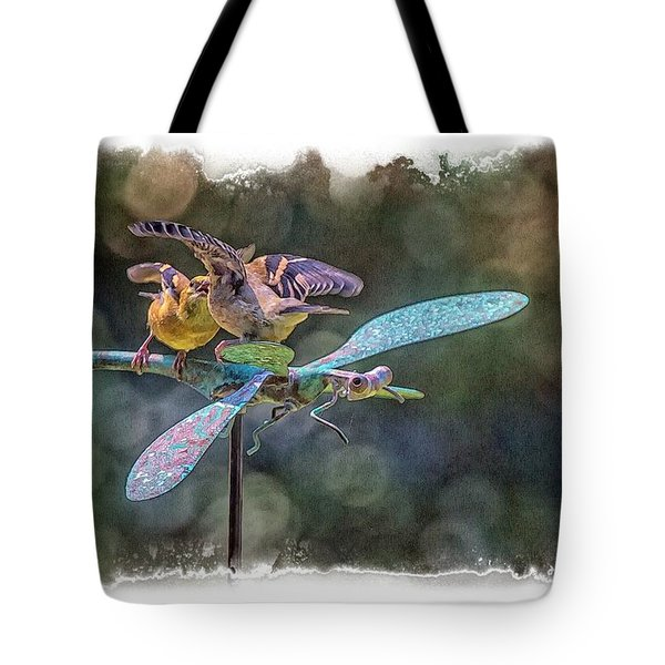 Tote Bag featuring the photograph On The Back Of A Dragonfly by Constantine Gregory