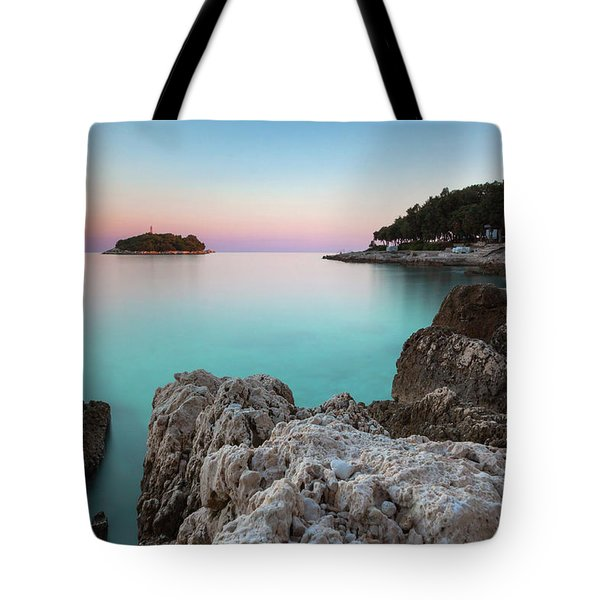 On The Beach In Dawn Tote Bag