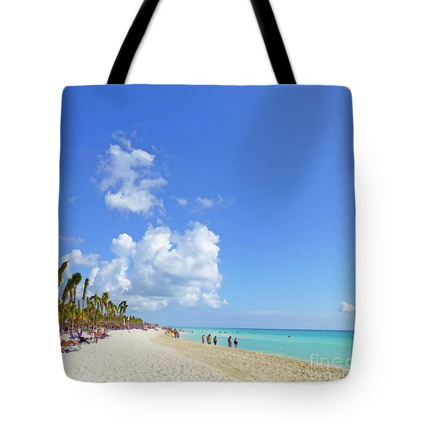 Tote Bag featuring the digital art On The Beach M1 by Francesca Mackenney