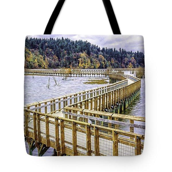 On The Boardwalk  Tote Bag by Jean OKeeffe Macro Abundance Art