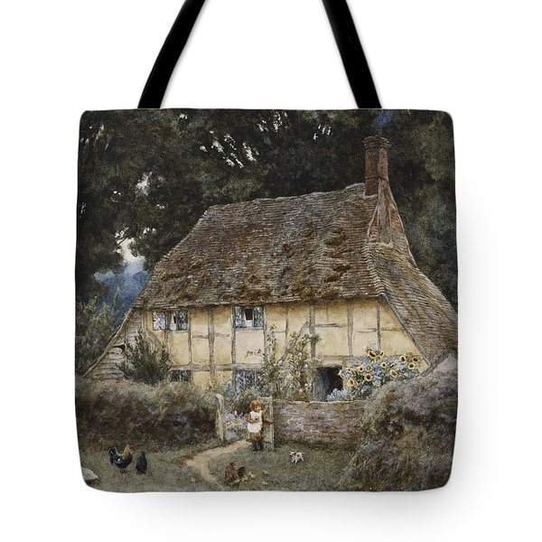 On The Brook Road Near Witley Tote Bag by Helen Allingham