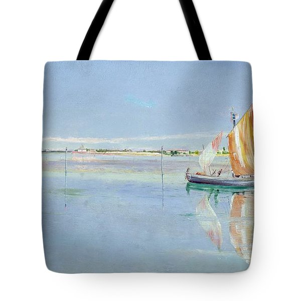 On The Lagoon Tote Bag by John William Inchbold