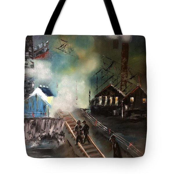 Tote Bag featuring the painting On The Pennsylvania Tracks by Denise Tomasura