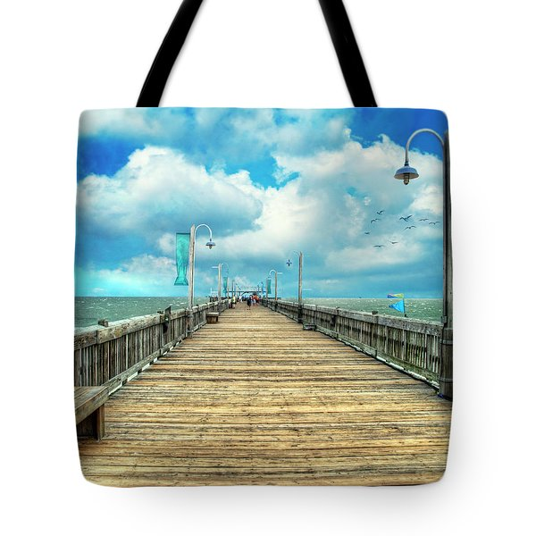 On The Pier At Tybee Tote Bag