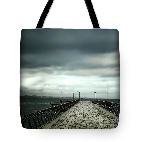 Tote Bag featuring the photograph On The Pier by Perry Webster