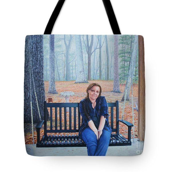 Tote Bag featuring the painting On The Porch Swing by Mike Ivey