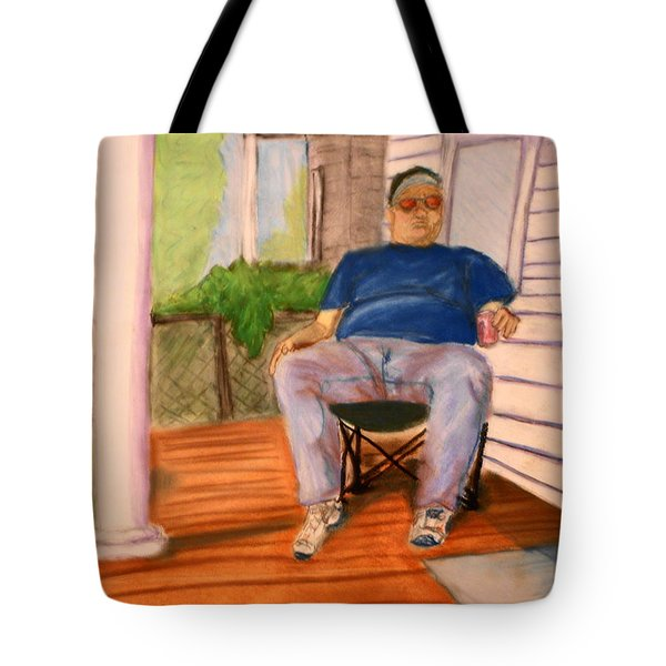On The Porch With Uncle Pervy Tote Bag by Jean Haynes
