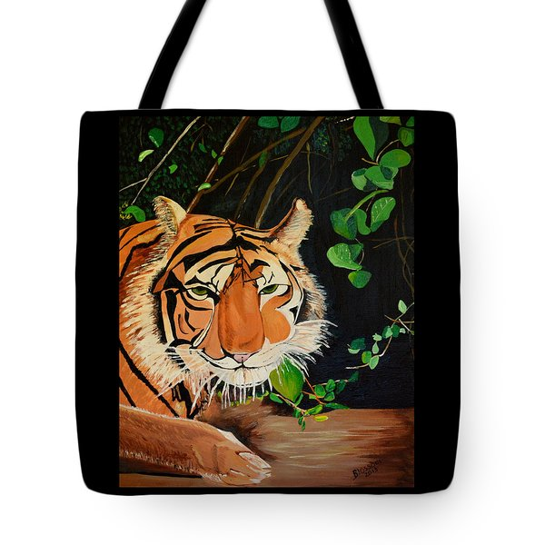 Tote Bag featuring the painting On The Prowl by Donna Blossom