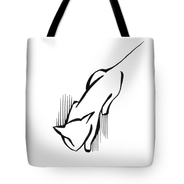 Tote Bag featuring the drawing On The Prowl by Keith A Link