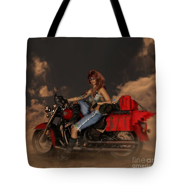 Tote Bag featuring the digital art On The Road Again by Shanina Conway