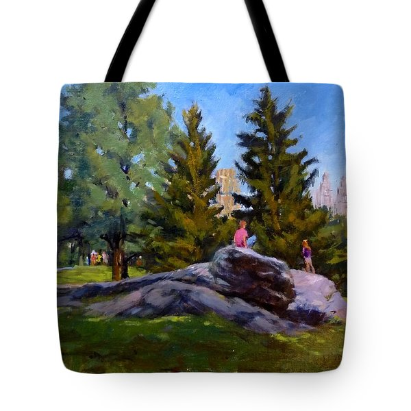 On The Rocks In Central Park Tote Bag