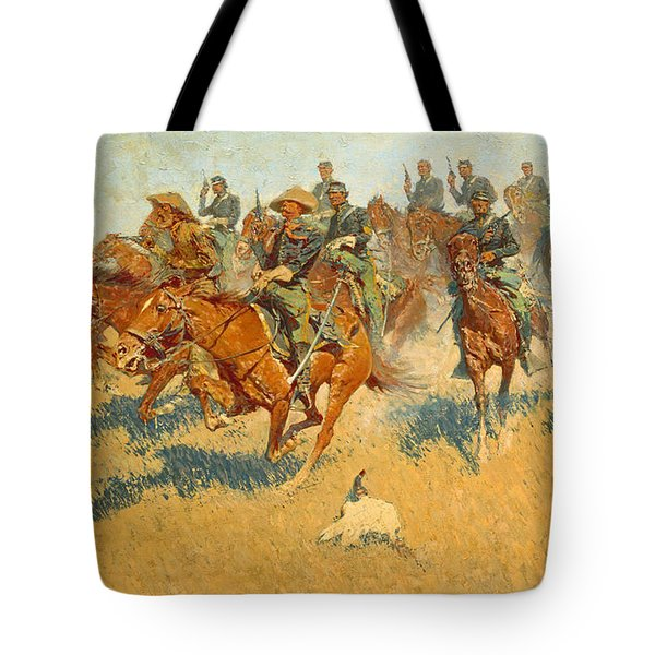 On The Southern Plains Frederic Remington Tote Bag by John Stephens