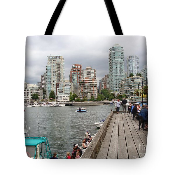 On The Water At False Creek Vancouver Tote Bag by Rod Jellison