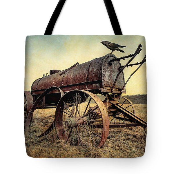 Tote Bag featuring the photograph On The Water Wagon - Agricultural Relic by Gary Heller