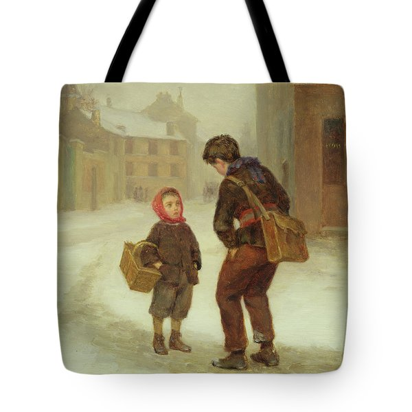 On The Way To School In The Snow Tote Bag by Pierre Edouard Frere