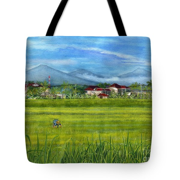 Tote Bag featuring the painting On The Way To Ubud 3 Bali Indonesia by Melly Terpening