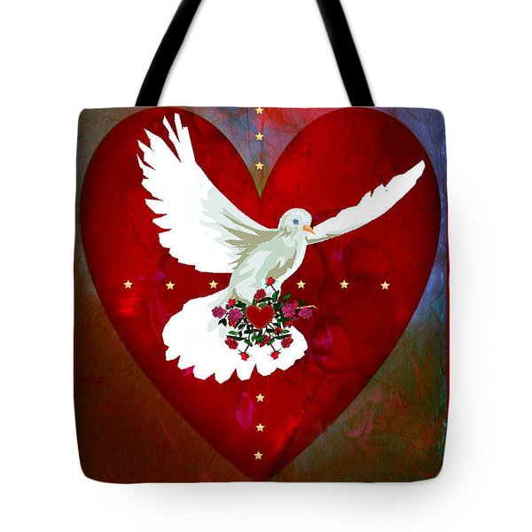 Tote Bag featuring the digital art On The Wings Of Love by Mary Anne Ritchie