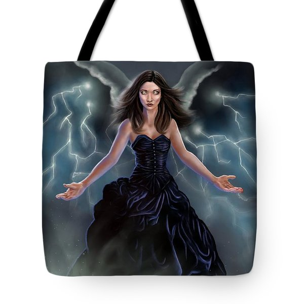 Tote Bag featuring the painting On The Wings Of The Storm by Amyla Silverflame
