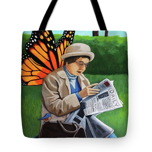 Tote Bag featuring the painting On Vacation -butterfly Angel Painting by Linda Apple