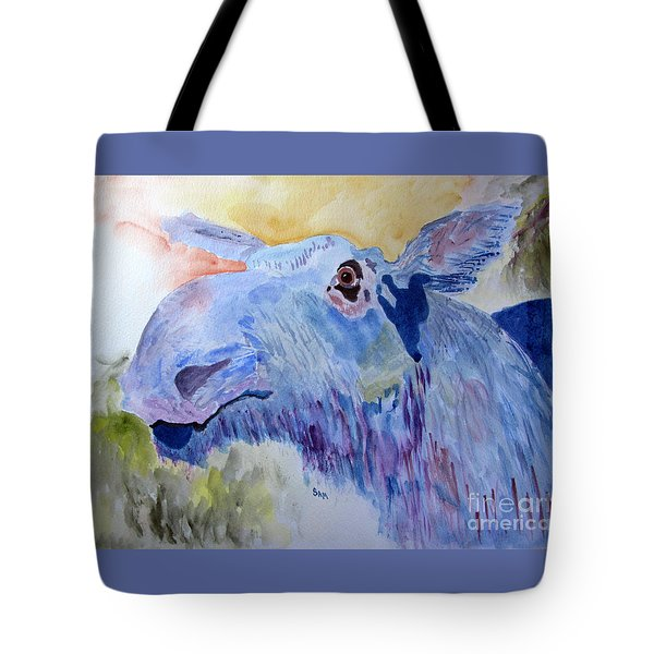 Once In A Blue Moose Tote Bag by Sandy McIntire