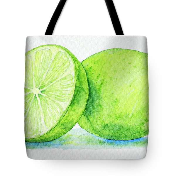 One And A Half Limes Tote Bag by Rebecca Davis