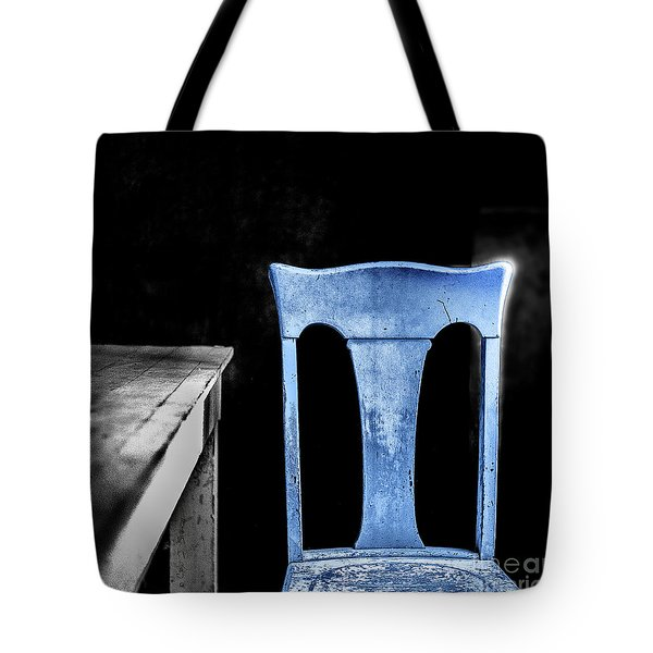 Tote Bag featuring the photograph One Blue Bodie Chair by Craig J Satterlee