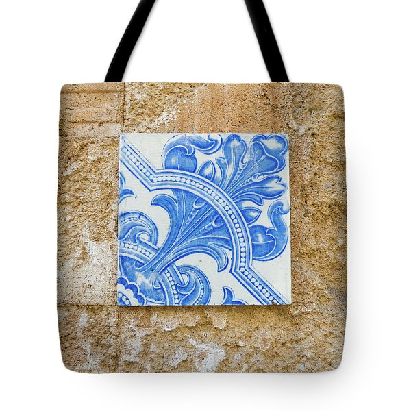 One Blue Vintage Tile  Tote Bag