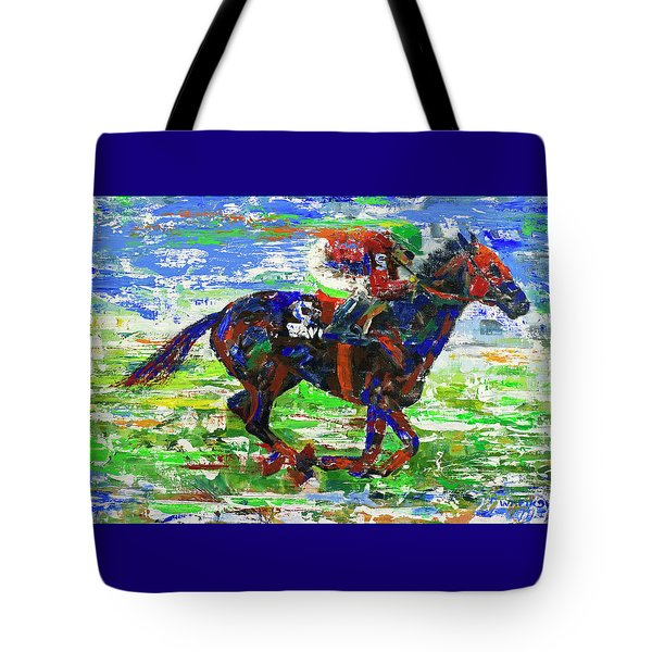 Tote Bag featuring the painting One Body Length Ahead by Walter Fahmy